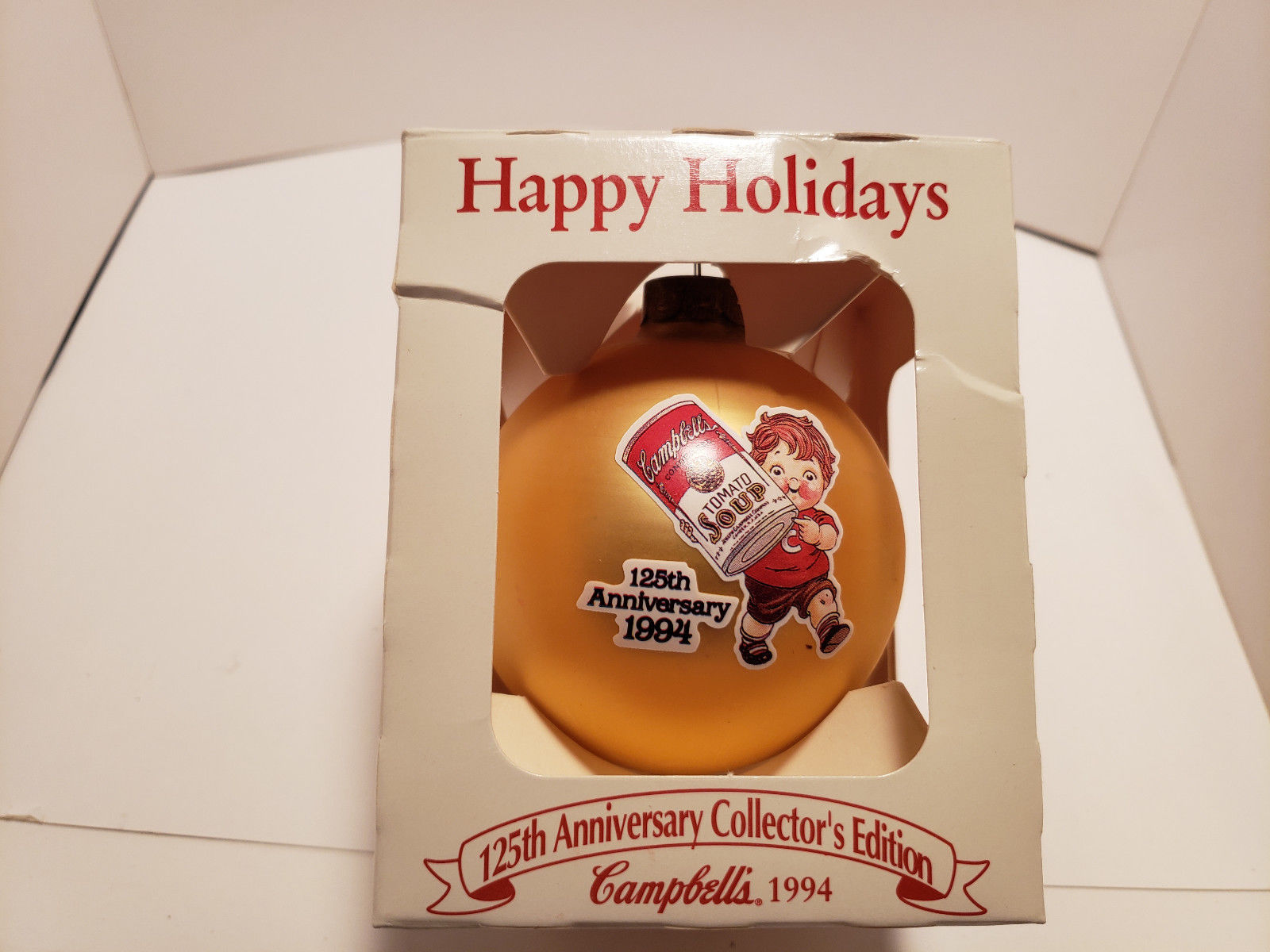 Primary image for Vintage Campbell Soup 1994 Ball Ornament Happy Holidays Kids W/Box