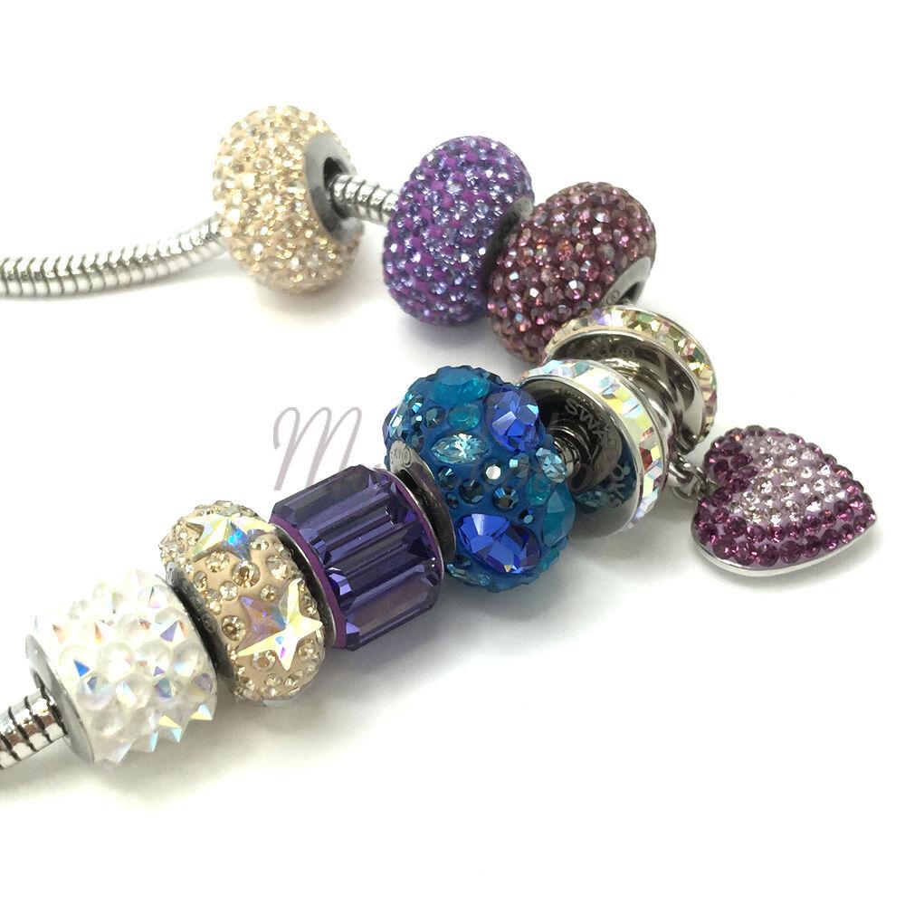 Swarovski European Fit Bracelet Charm Stainless BeCharmed Pave Spikes Crystal image 3