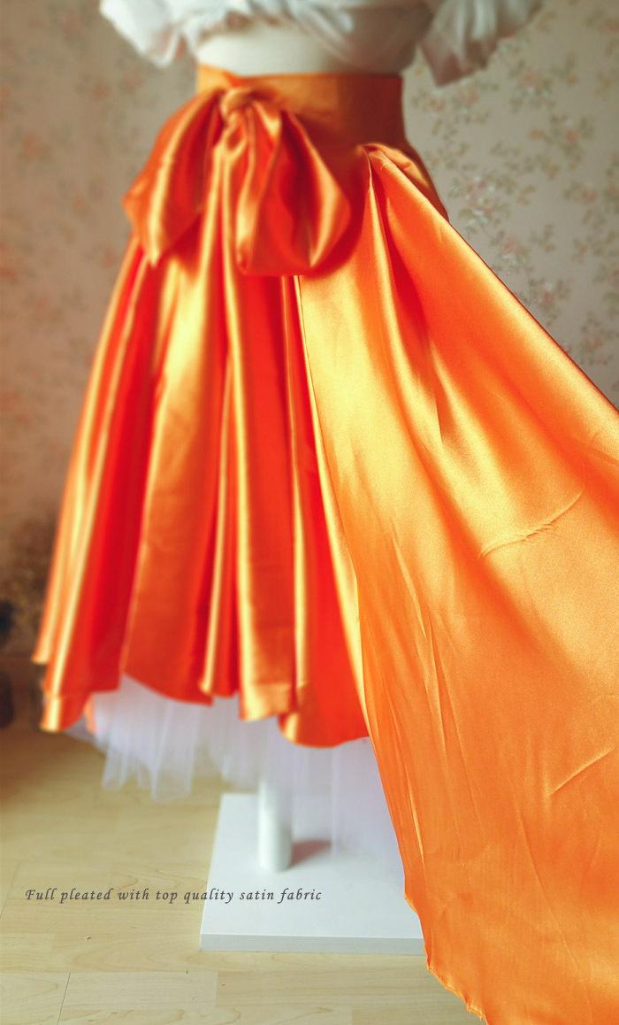 Adult Orange Big Bow High Low Layered Long Tutu Skirt Prom Skirt Custom Size NWT