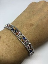 Vintage Mixed Colored Gemstone 925 Sterling Silver Bracelet - $163.35