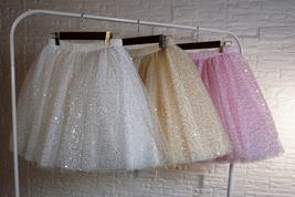Women Girl Sparkle Tulle Skirt Mini Tulle Skirt A-line Red White Pink Gray image 4