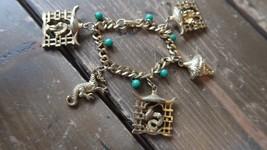 "Vintage Gold Tone CHINESE Theme Dragon Costume Jewelry Bracelet 7"" - $18.51"