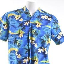 Royal Creations Palm Trees Sunset Waves Floral Medium Hawaiian Aloha Shirt - $34.64