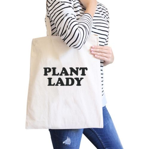 Primary image for Plant Lady Natural Reusable Grocery Bag Cute Design Canvas Tote Bag