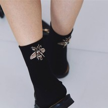 Women Fashion Vintage Socks Rhinestone Short Black Socks Cute Soft Black... - $9.14