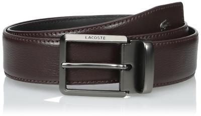Lacoste Men's Embossed Logo Premium Classic Leather Belt Brown RC1315