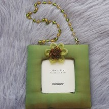 "Green Fabric Hanging Floral Beaded Frame 3x3"" Photo Pier1 Imports Satin ... - $10.39"