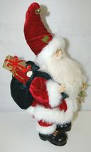 American Silkflower Detailed Santa Figurine Holding Two Gold Colored Bells image 3