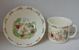 BUNNYKINS 2 Piece CEREAL BOWL & CUP Royal Doulton Dishes England Albion EXC - $16.48