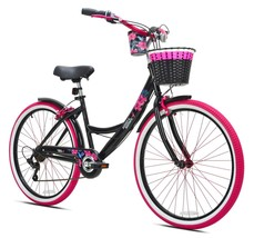 "26"" Women's Susan G. Komen Beach Cruiser Bike Comfy Ride, 7-Speed, Black & Pink - $213.35"