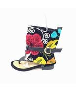 Women ZEYZANI Suzani Black Tapestry & Leather Gladiator Sandals 36/5.5-6... - $49.49