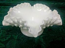 Vintage Pedestal Fenton White Hobnail Milk Glass Bowl with Ruffled Crimp... - $7.99