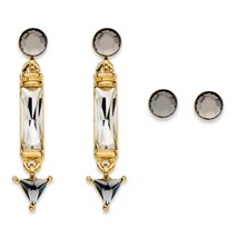 """PalmBeach Jewelry Crystal Gold Tone 2-Pair Stud and Drop Earrings Set 1.5"""" - $9.49"""
