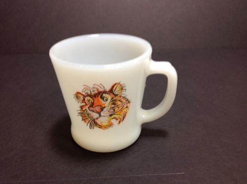 17e17868baa Vintage Fire King Milk Glass Coffee Mug Esso Exxon Tony the Tiger D Handle  - $18.69