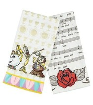 Disney Parks Beauty and the Beast Dish Kitchen Towel Set of 2 New With Tags - $25.86