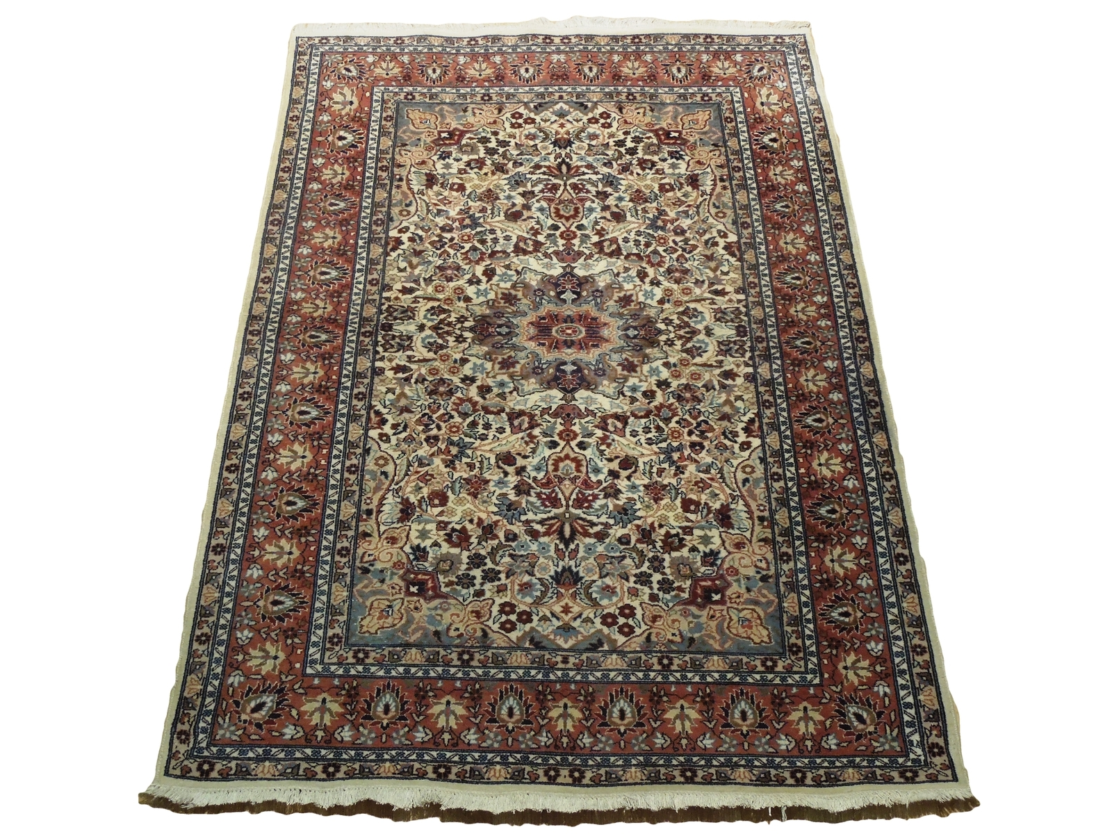 Ivory Wool Carpet 5 x 7 Fine Quality Reproduction Traditional Handmade Rug