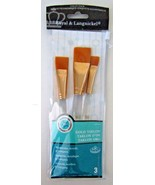 BRAND NEW Package of Three Gold Taklon Value Pack Paint Brushes~FAST Shi... - $9.99
