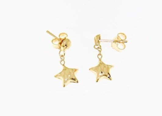 18K YELLOW GOLD EARRINGS WITH VERY SHINY STAR WORKED MADE IN ITALY O.51 INCHES