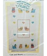 CATS and HEARTS Baby Afghan Counted Cross Stitch Kit 1989 Candamar - $28.98