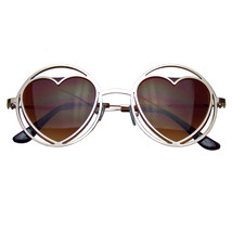Womens Round Metal Heart Shape Hippie Circle Sunglasses - £6.09 GBP