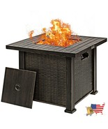 """Fire Pits 30"""" 50000 BTU Square Propane Gas Fire Pit Table With Table Cover - $398.94"""
