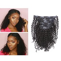 Afro Kinky Curly Clip in Human Remy Hair Extensions Brazilian Curly Clips Hair E