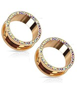 EG GIFTS Rose Gold Plated Aurora Multi Colors Crystals Screw Fit Tunnels... - $21.49