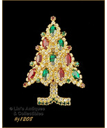 Signed Eisenberg Ice Rhinestone Christmas Tree Pin (Inventory #J1208) - $110.00