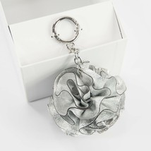 Michael Kors Origami Rose Flower Silver Leather 3D Key Chain Bag Charm NWT - $27.32