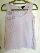 Tommy Hilfiger Lavender Polka Dot Floral Pom Pom Sleeveless Blouse Tank Top Xs - $9.47