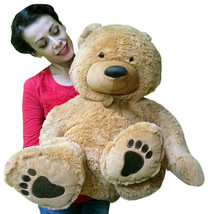 Big Plush Giant Stuffed Beige Teddy Bear with Big Belly and Big Foot Paws - $59.64