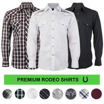 LW Men's Western Cowboy Pearl Snap Button Long Sleeve Casual Rodeo Dress Shirt