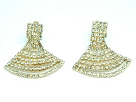 Clear Rhinestone Art Deco Styled Gold Tone Fan Clip Vintage Earrings - $19.79