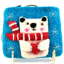 Wild Woolies Handmade Felted Wool Polar Bear Felt Coin Purse Bag Made in Nepal image 2