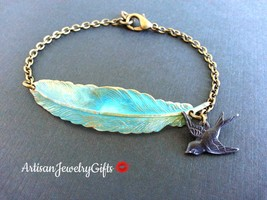 Patina Feather Black Sparrow Charm Bracelet Woodland Bracelet - $44.00