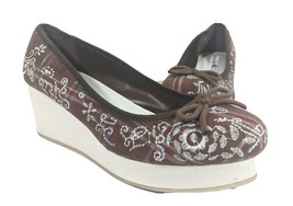 American Eagle Wedge Shoes Size 9 Cute Brown Western Plaid Embroidered H... - $29.48
