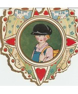 Vintage Valentine Card Boy in Cap Whitney Made Unused Heart Shaped Die Cut - $7.91