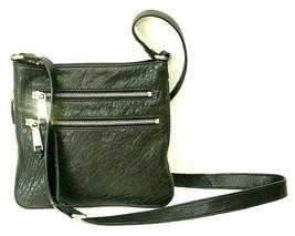 Cole Haan Black Leather Zip Closure Adjustable Strap Gold Tone Crossbody... - $28.70