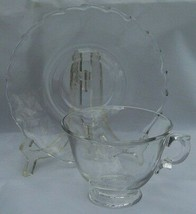FOSTORIA CENTURY PRESSED GLASS CUP SAUCER S 4 - $21.03