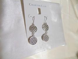 "Charter Club 2"" Silver-Tone Pavé Double Drop Earrings B675 - $9.59"