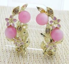 Pink Moonglow Rhinestone Enamel Gold Tone Flower Earrings Vintage - $19.79