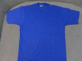 Fruit Of The Loom USA MADE Pocket T Shirt Vintage Square Pocket Size Large - $21.29