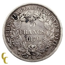 1870-A France 5 Francs (VF) Very Fine Condition - $111.38