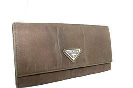 Authentic PRADA milano logos coin card  Long  Wallet purse Nylon Leather... - $103.59