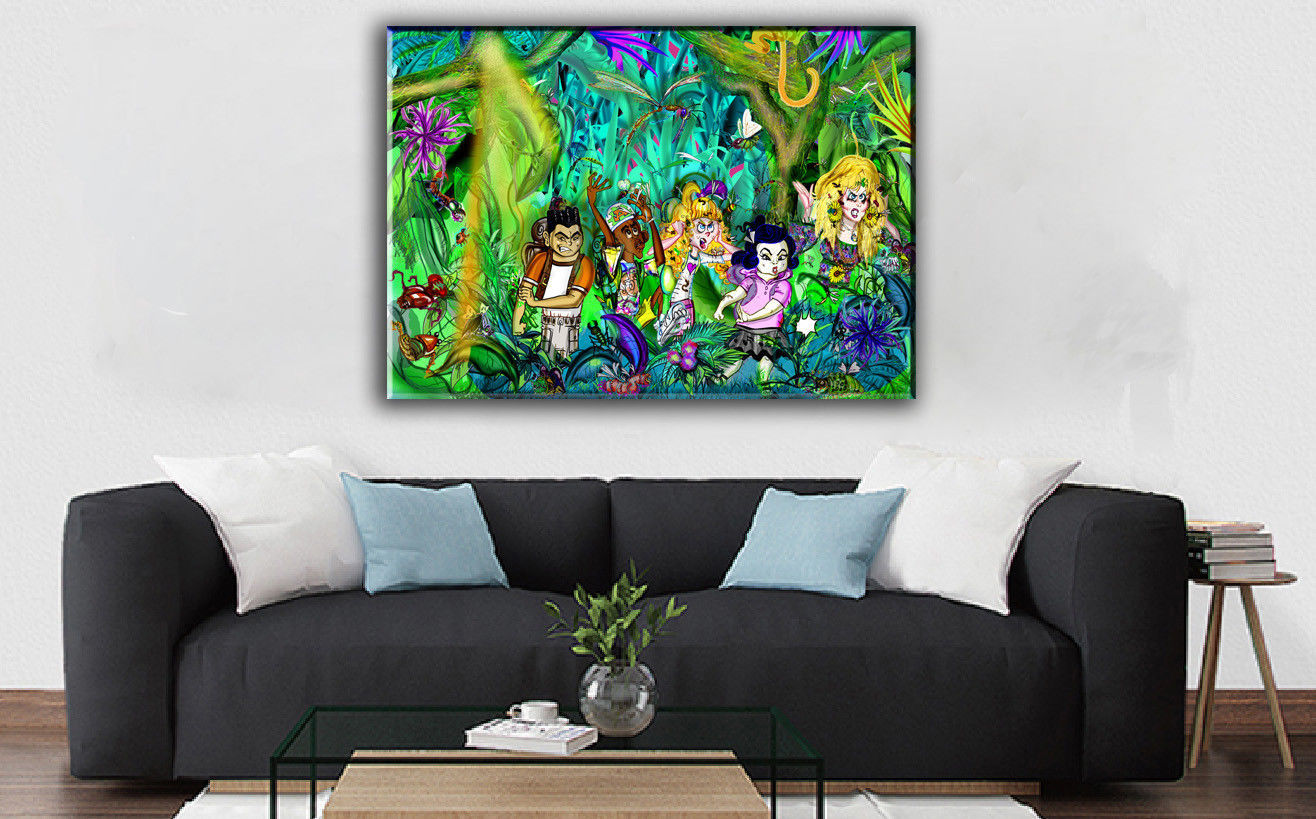 Cartoon  Art Home Decor Oil Painting Print On Canvas Forest Mosquito War