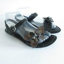 Born Sandals 7 EU 36 Black Leather Flower Metallic Ankle Strap Flats - $9.49