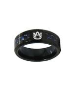 University of Auburn NCAA Team Logo Tungsten Carbide Black Blue Fiber In... - $38.99