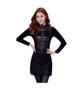 PU Leather Patchwork Lace Dresses 2017 New Spring Autumn Women Dress Lon... - $39.10