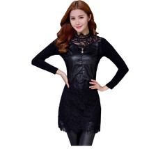 PU Leather Patchwork Lace Dresses 2017 New Spring Autumn Women Dress Long Sleeve