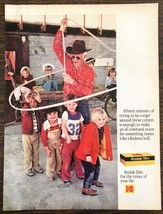 1976 Kodak Film Print Ad Super Cute Photo of Elderly Cowboy Lasssoing Kids - $10.84